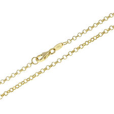 14ct Solid Round Link Belcher Rolo Yellow Gold Chain Necklace Hallmarked 2 mm