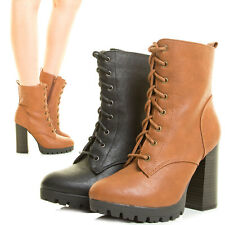 Womens Ankle Booties Lace Up Chunky Thick Heel Lug Sole Platform Combat Military