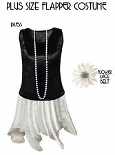 White & Black Roaring 20's PLUS SIZE Flapper Dress Halloween Costume Sizes to 9x