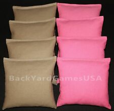 ALL WEATHER CORNHOLE BEAN BAGS Khaki & Light Pink Resin Filled WATERPROOF