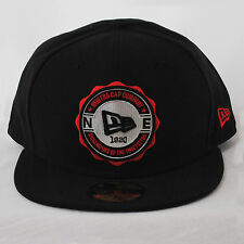 New Era 59fifty Shield Emblem Black Red 5950 Fitted cap Hat