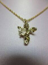 14 KT GOLD PLATED ROPE CHAIN & SMALL LOVE ANGEL CHARM PENDANT LIFETIME GUARANTEE