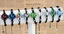 Womens Faceted Crystal Flower Disco Ball Beads Bracelet Knitted Macrame Bangle