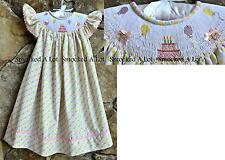 Smocked A Lot Girls Dress Birthday Cake Presents Balloons Multi Polka Dots Pink
