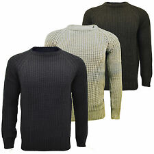 Mens Brave Soul 'Konstantih' Cable Knit Chunky Crew Neck Elbow Patches Jumper