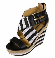 WILBUR! Soda Women's Criss Cross Strappy Open Toe Platform Wedge Sandals