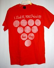 BEER PONG I SINK IT YOU DRINK Mens Red T Shirt Frat Boy Retro Look Drinking Game