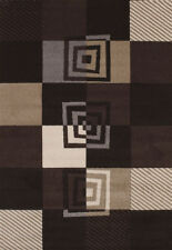 Black Contemporary Carpet Checked Squares Boxes Cubes Grid Olefin Area Rug