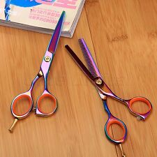 "5.5"" Hairdressing Purple Barber Stylist Hair Cutting Thinning Scissors Shear Set"