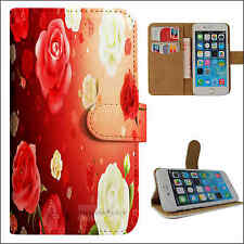 S2205-The red and white rose Flip wallet case cover for Samsung/iphone/Nokia/HTC