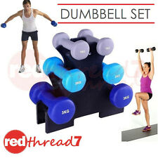 Dumbbell Weights Set 6 Piece 12kg Workout Gym Equipment Fitness Blue BONUS Stand