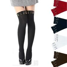 New Women Over Knee Cotton Stockings Thigh-High Socks Rivet Boot Stocking Socks