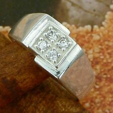 STERLING SILVER RING WITH FOUR STONES SOLID.925 /NEW JEWELERY SIZE J - U