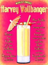 New World Famous Harvey Wallbanger Cocktail Recipe Metal Tin Sign