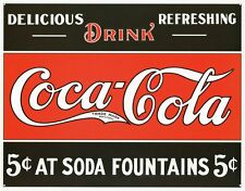 New Coca Cola At Soda Fountains Coke Metal Tin Sign