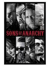 New Gloss Black Framed Sons Of Anarchy Character Collage Poster