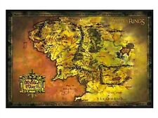 New Gloss Black Framed Lord of the Rings Map Of Middle Earth Poster