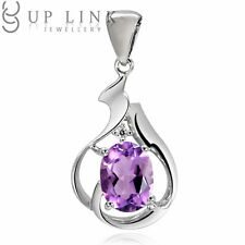 UP LINK Oval Aquamarine/Garnet/Amethyst 925 Sterling Silver Beauty Pendant Gifts