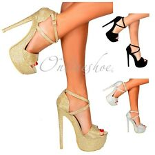 WOMENS STRAPPY PLATFORM PARTY SHOES HIGH HEEL STILETTO GOLD SILVER BLACK RED NEW