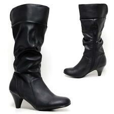 Ladies Womens Faux Leather Mid Calf Mid Heels Fashion Biker Riding Boots Shoes