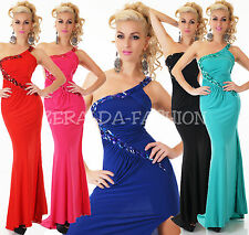 NOBLE SEXY ONE SHOULDER EVENING MAXI BALL DRESS SPECIAL OCCASION RHINESTONES