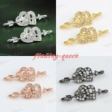 5pc Crystal Cupid's Arrow Double Heart Bracelet Charms Connector Findings Beads