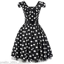 PRETTY KITTY BLACK COCKTAIL POLKA DOT VINTAGE TEA SWING PROM PARTY DRESS 8-20