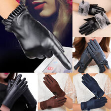 Fashion Ladies Winter Gloves PU Leather Warm Screen Touch Mittens Driving Gloves