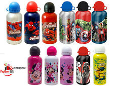 KIDS CHARACTER 500ml ALUMINIUM DRINK WATER BOTTLE FUN SCHOOL LUNCH BOTTLE X