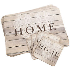 Set of 4 Placemats & Coasters Cork Table Place Settings Mats Shabby Chic Heart