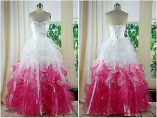 Sweetheart Long Quinceanera Prom Dresses Organza Pageant Prom Party Ball Gowns