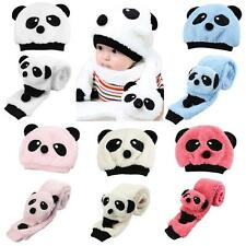 Winter Baby Toddler Girl Boy Warm Panda Hat Cap Beanie Scarf Set Cute DH25[Pink]