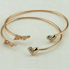Women's Bangle Letter Love Embedded Rhinestone Heart Alloy Bracelet Cuff Jewelry