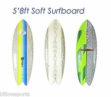 "5'8"" Soft Surfboard, CBC Sushi Fish, 5ft8 Softboard with Fins and Leash"