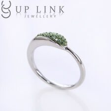 925 Sterling Silver CZ Crystal Green Engagement Rings Wedding Swarovski Sz 5 6 7