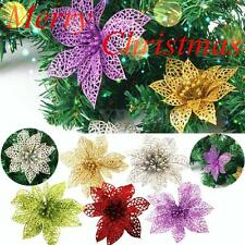 UK Christmas Flowers Xmas Tree Decorations Glitter Hollow Wedding Party Gifts