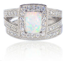 White Gold Emerald Cut White Fire Opal Engagement Wedding Silver CZ Ring Set