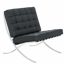 Premium Lounge Chair Barcelona Style Modern Pavilion Chair in Leather or in Wool
