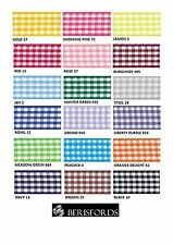 BERISFORDS GINGHAM CHECK RIBBON 40MM WIDE 18 COLOURS - CUT METRES OR FULL ROLL