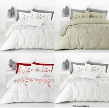HANNAH Leaf 3 Pce QUEEN Size Quilt / Doona Cover Set 300TC Cotton RRP $129 NEW
