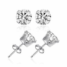 AUTHENTIC Solid Sterling Silver 925 CZ Earrings Round Stud Small Medium Large