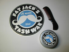 Fat Jack's Tash Wax Moustache Comb & 15ml Tin of Moustache Wax  FAST & FREE POST