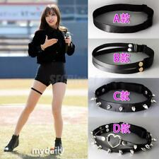 Sexy Black Harajuku Punk Rock Goth Stud Elastic Leather Garter Belt Leg Ring