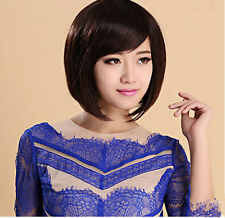 Fashion Women's Short Brown&Black Straight Bobo Hair Full Wig Cosplay Party Wigs