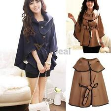 New Womens Batwing Cape Poncho Jacket Winter Cloak Coat Parka Trench Outwear Hot