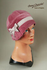 1920s 30s FLAPPER CLOCHE HAT Dusky Pink cotton VELVET bow made-to-order