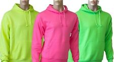 Hooded Plain Neon Pink Yellow Green Sweatshirt Men Women Pullover Hoodie New