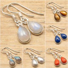 925 Silver Plated RAINBOW MOONSTONE & Other Gems Variation NEW Earrings