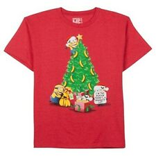Despicable Me Youth Unisex Minions Banana Christmas Tree Red T-Shirt Tee