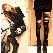 Sexy Women Punk Hole Ripped Slit Split Leggings Party Gothic Pants Jeggings